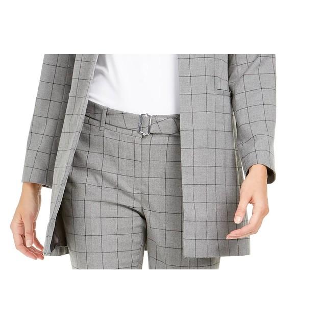 Calvin Klein Women's Collarless Plaid Topper Jacket Gray Size 6