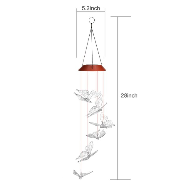 IMAGE Windlights Solar Powered LED Butterfly Wind Chime Hanging lamp
