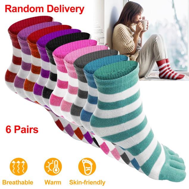 6 Pair 5-toes Socks Soft Breathable Socks