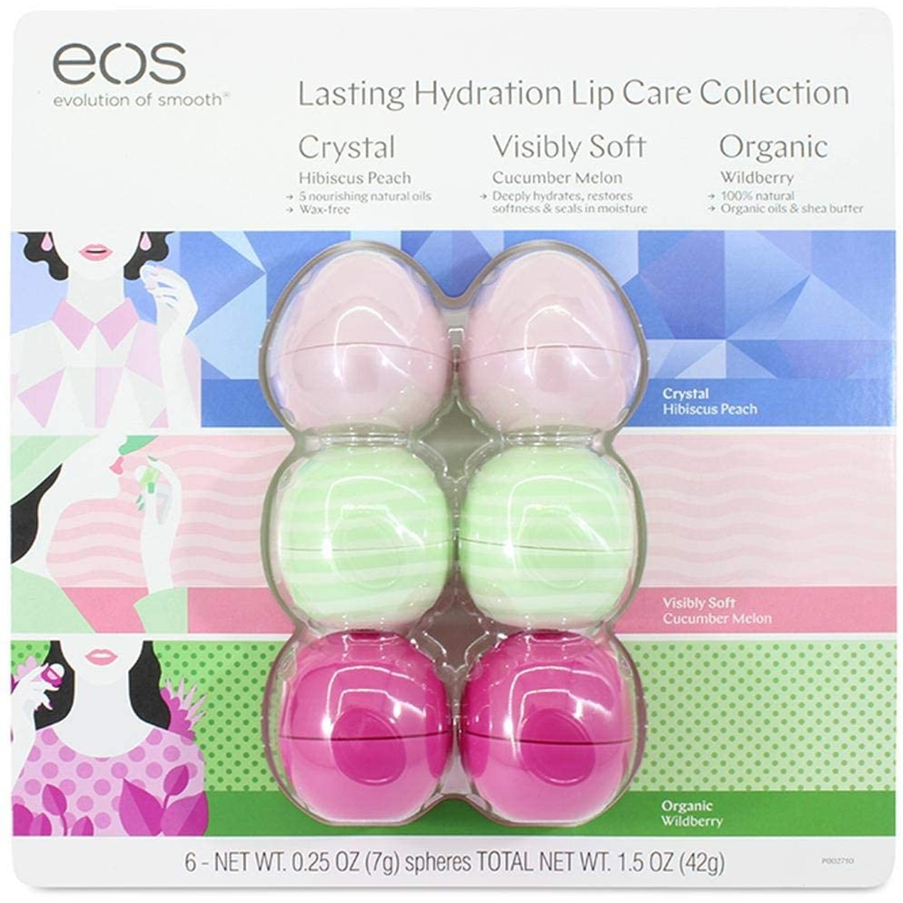6-Pack EOS Lasting Hydration Lip Care Collection