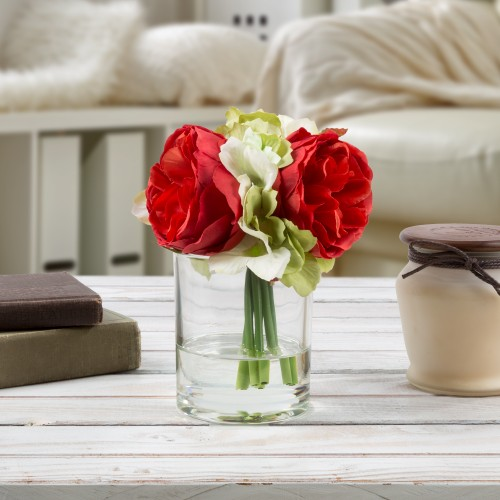 Hydrangea and Rose Artificial Floral Arrangement with Vase and Faux Water- Fake Flowers for Home Dcor, Shower Centerpiece by Pure Garden (Red)
