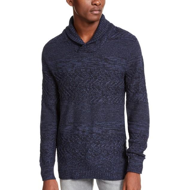 American Rag Men's Multi-Textured Shawl-Collar Sweater Navy Size Medium