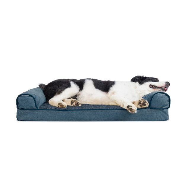 FurHaven Faux Fleece & Chenille Cooling Gel Sofa Pet Bed