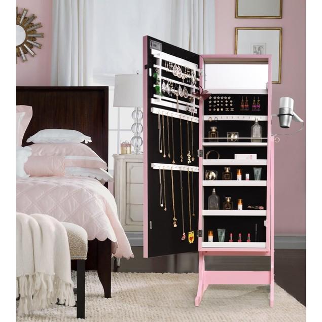 Glam Marquee Lights Armoire Jewelry Storage Organizer