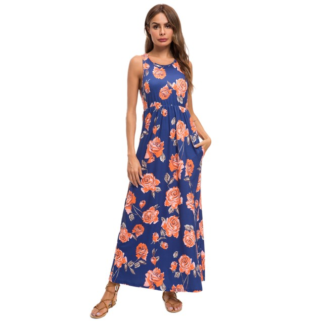 Lilly Posh Maxi Bold Pattern Floral Dress