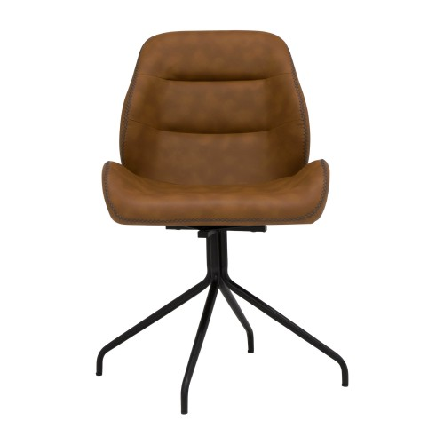 Offex Devonport Swivel Home Office Accent Chair with Black Metal 4-Star Base - Black, Spotted Copper