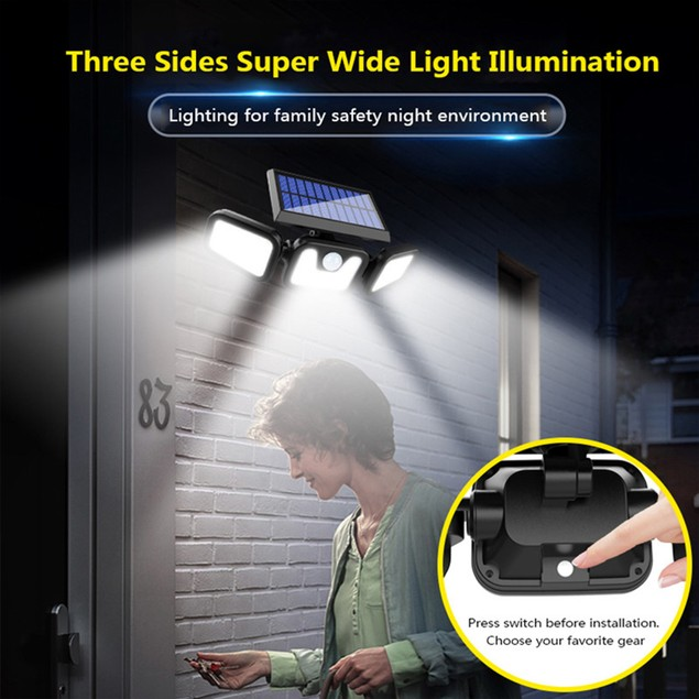 3-Head LED Solar Security Motion Flood Light Outdoor Sensor Lamp Adjustable