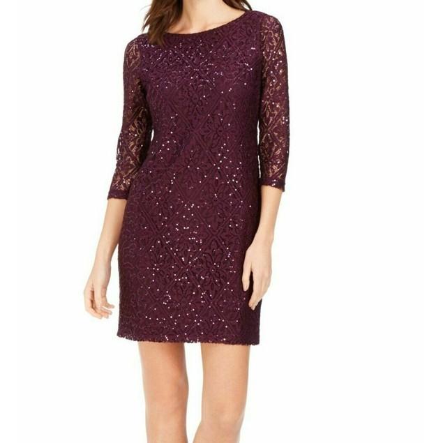 Jessica Howard Women's Petite Lace & Sequin Dress Black Size 0