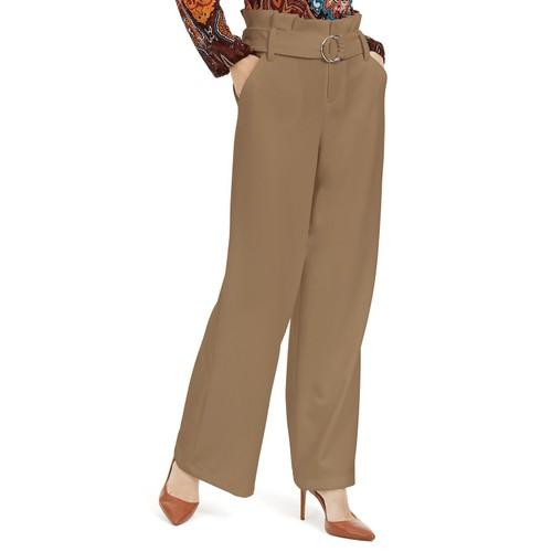 I.N.C. Women's Paperbag-Waist Wide-Leg Pants Gold Size 14