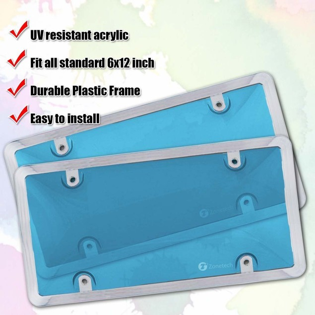 Zone Tech 2x Blue Tinted License Plate Tag Shield Cover Chrome Frame Auto