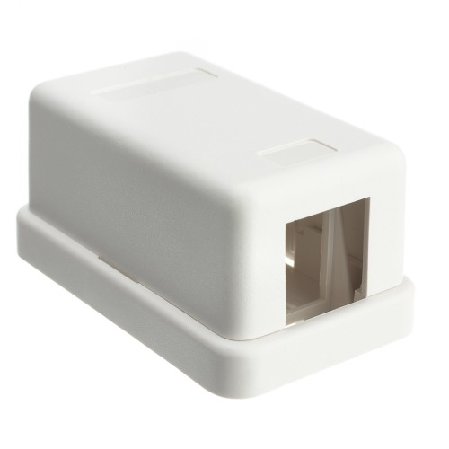 Blank Surface Mount Box for Keystones, 1 Hole, White