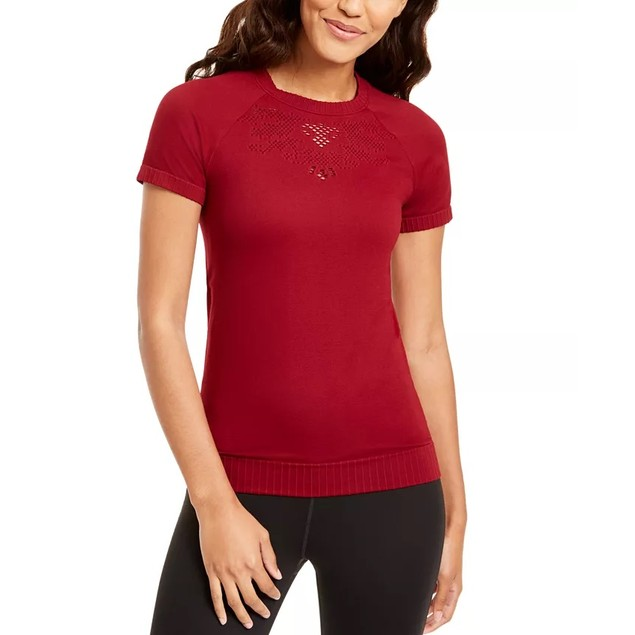 Ideology Women's Seamless Perforated Top Medium Red Size Large