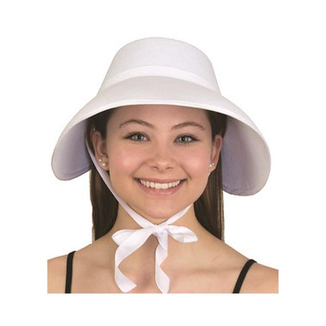 White Felt Handmaid's Bonnet