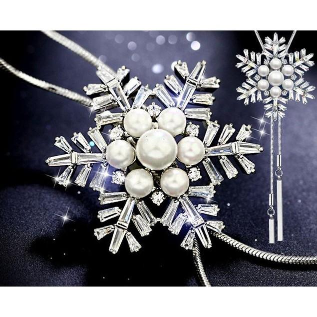 Novadab Snowflake Crisp Winter's Snowflake Pendant Necklace