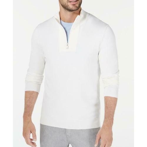 Alfani Men's Quarter-Zip Ribbed Placket Sweater Ivory Size Small