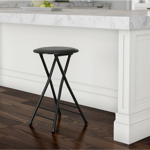 Folding Stool  24 In  Padded Round Stool  300 Pd Capacity Extra Seating