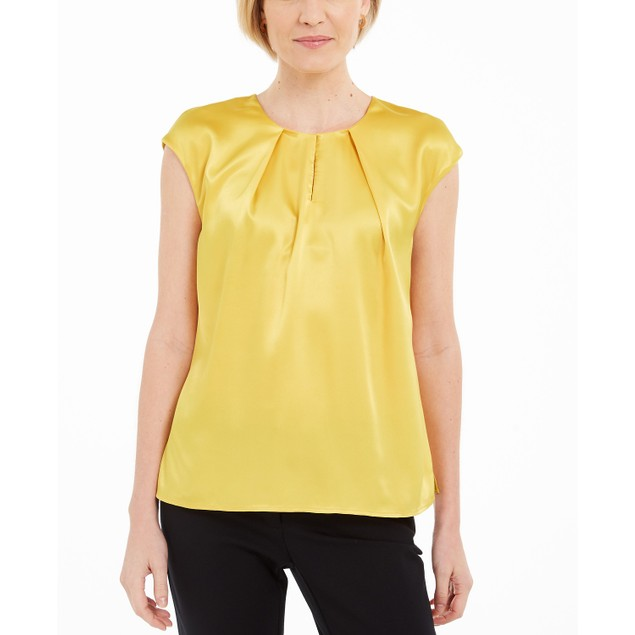 Kasper Women's Keyhole Charmeuse Sleeveless Blouse Yellow Size Extra Large