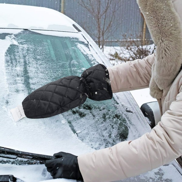 2-PACK Car Ice Scraper with Waterproof Fleece Mitt