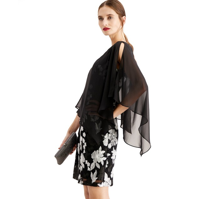 Connected Women's Embroidered Chiffon-Capelet Dress Black Size 12