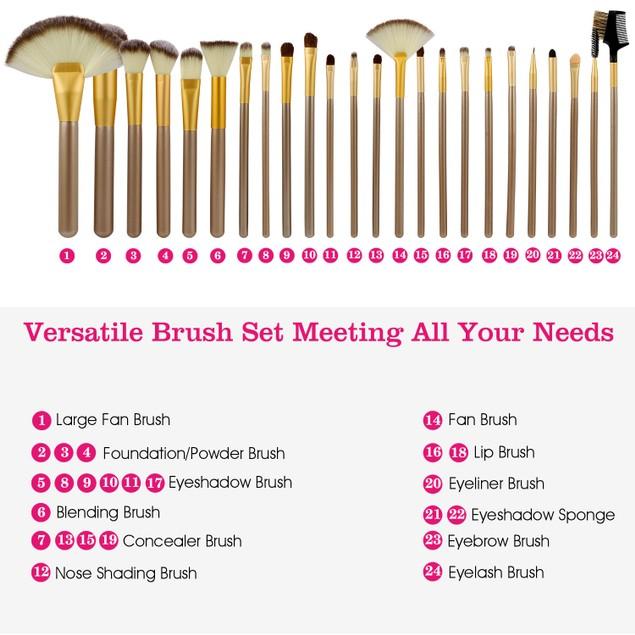 24Pcs Makeup Brushes Set Eye Shadows Face Foundation Brushes