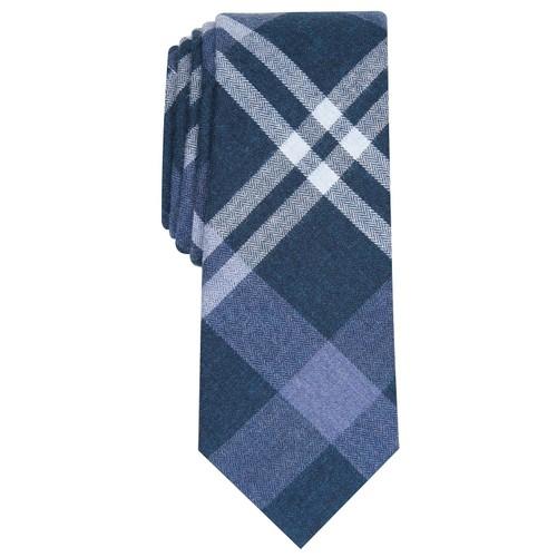 Bar III Men's Shilling Skinny Plaid Tie Blue Size Regular