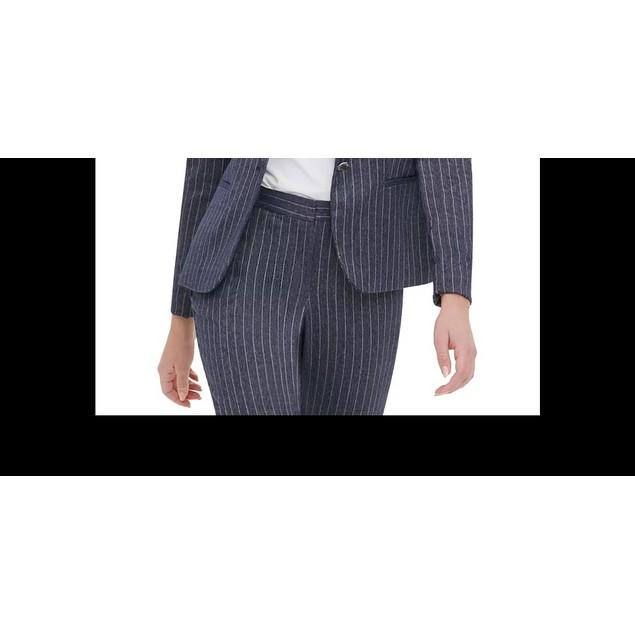 Tommy Hilfiger Women's Pinstripe Peak-Lapel Blazer Navy Size 0