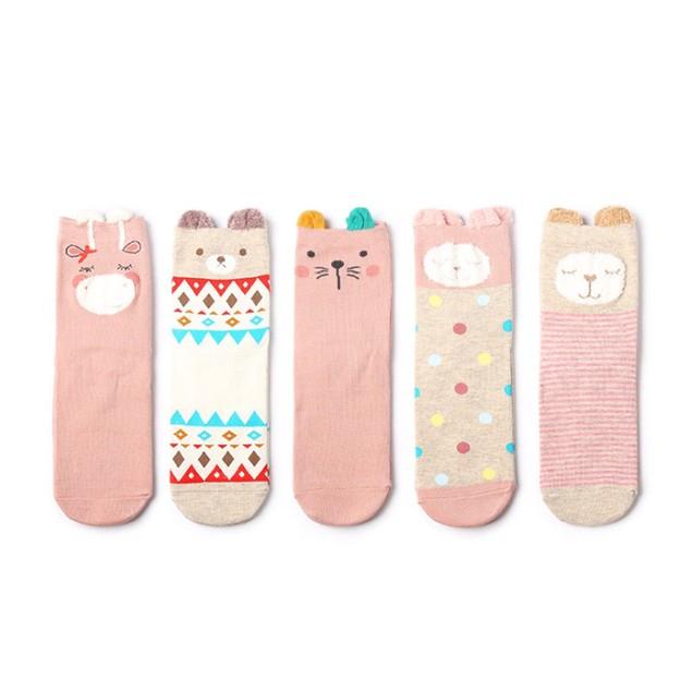 5 Pairs Cute Cartoon Women Casual abstract Painting Art Novelty Socks