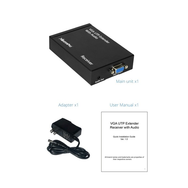 XTREMPRO 22010 VGA UTP EXTENDER RECEIVER WITH AUDIO (UL)