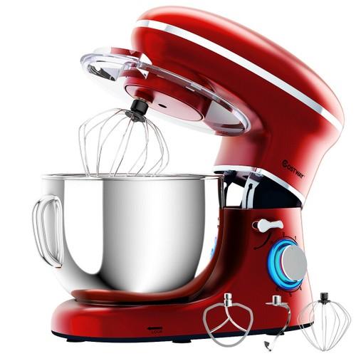 Costway 6.3Qt Tilt-Head Food Stand Mixer 6 Speed 660W w/Dough Hook, Whisk &