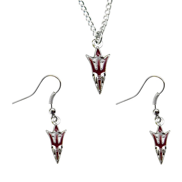 Arizona State Univercity Necklace And Dangle Earring Charm Set - NCAA