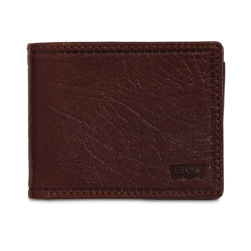 Levi's Men's Rfid Extra-Capacity Leather Wallet Brown Size Regular