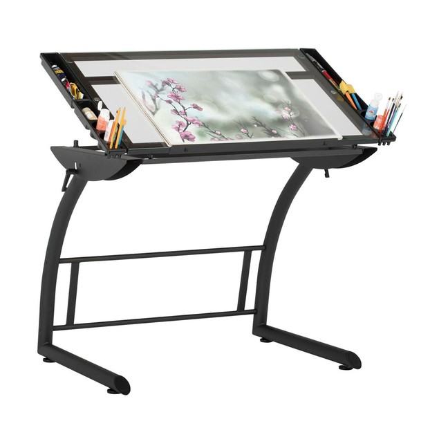 Offex Triflex Drawing Table - Charcoal/Clear Glass