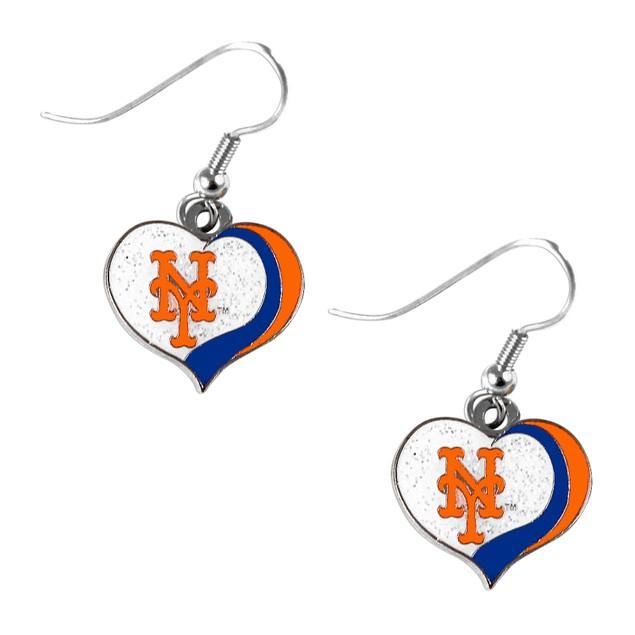 New York Mets MLB Glitter Heart Earring Swirl Charm Set