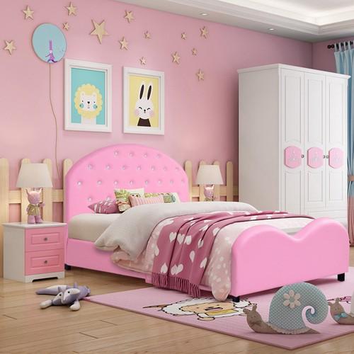 Costway Kids Children PU Upholstered Platform Wooden Princess Bed Bedroom F