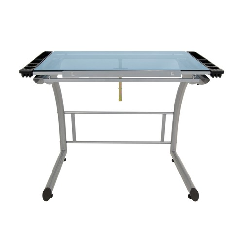 Offex Triflex Drawing Table, Stand Up Desk - Silver/Blue Glass