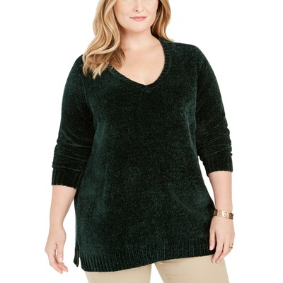 Karen Scott Women's Plus Size V-Neck Chenille Sweater Green Size XXX-Large