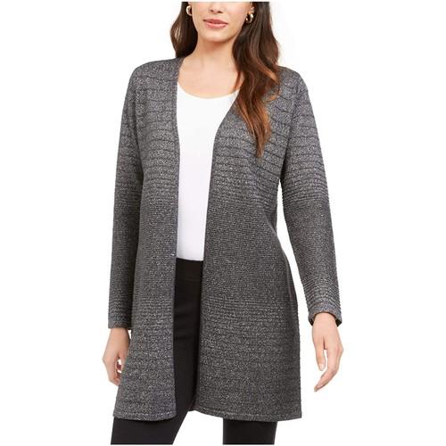 Alfani Women's Ribbed Metallic Cardigan Gray Size Small