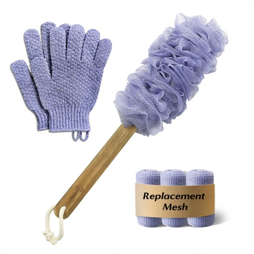EvridWear  Exfoliating Back Scrubber with Wood Handle