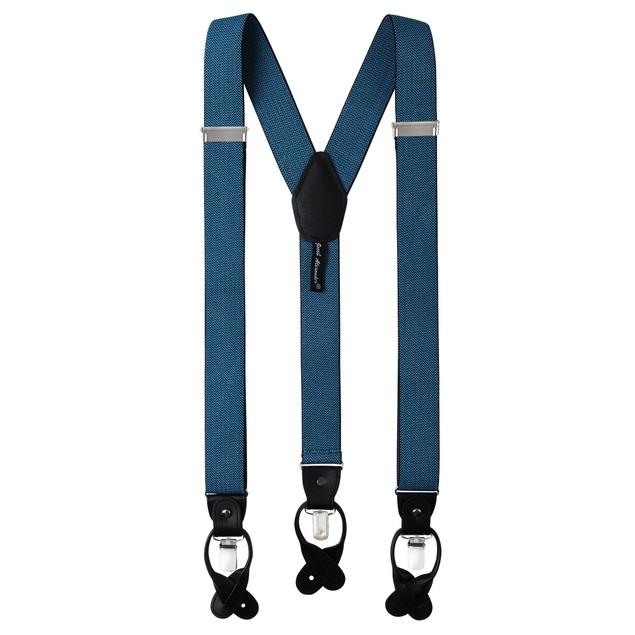 Jacob Alexander Men's Zig Zag Suspenders Convertible Leather - Blue Zig Zag