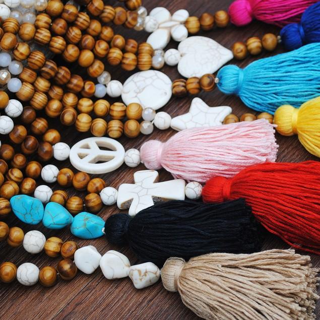 Women's Boho Style Turquoise Wood Bead Sweater Chain