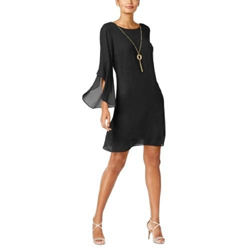 Thalia Sodi Women's Flared-Sleeve Necklace Dress Black Size XX Large