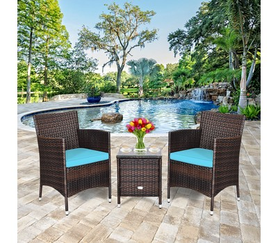 Costway 3 PCS Outdoor Rattan Wicker Chair Set with Coffee Table Was: $319.99 Now: $153.99.