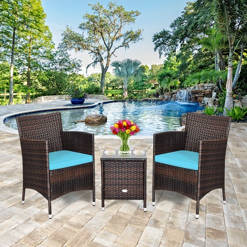 Costway 3 PCS Outdoor Rattan Wicker Chair Set W/ Coffee Table