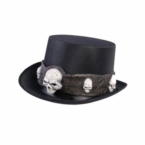 Black Top Hat With Skulls Steampunk Gothic Costume Voodoo Warlock Goth
