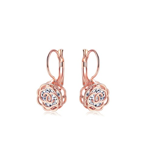 Crystal Lever-back Floral Earrings In Gold - 2 colors