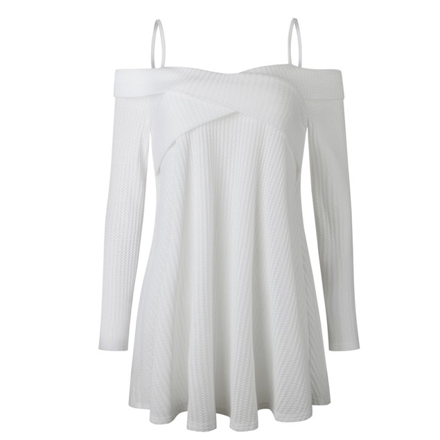 Off Shoulder Spaghetti Strap Long Sleeve Loose Shirt