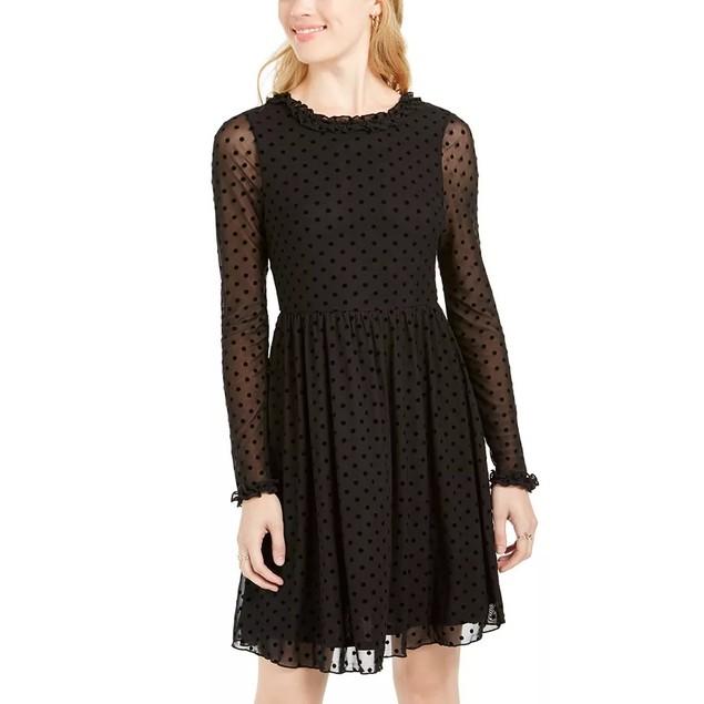 American Rag Juniors' Sheer Polka Dot Tie-Back Dress Black Size Extra Small