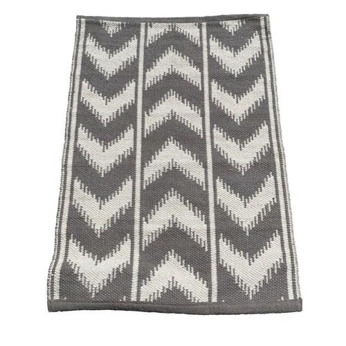 Chevron Gray Woven Rug, Neutral Color Area Rug, Gray Throw Reversible Rug