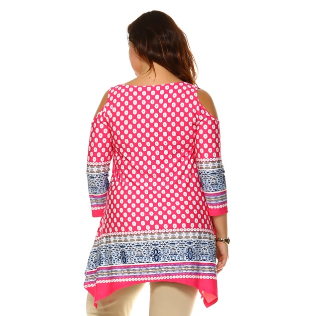 Plus Size Cut-Out Shoulder Tunic - 6 Prints