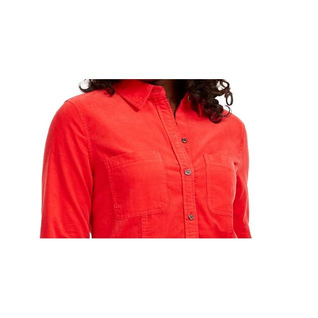 Charter Club Women's Solid Corduroy Shirt Medium Red Size X-Small
